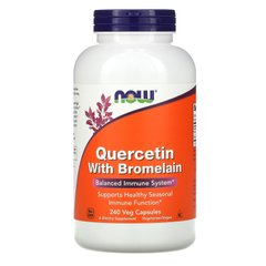 Кверцетин с бромелаином, Quercetin with Bromelain, Now Foods, 240 вегетарианских капсул