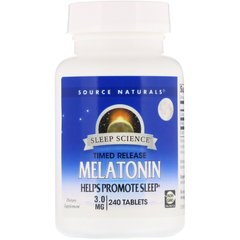 Мелатонин, Melatonin, Source Naturals, 3 мг, 240 таблеток
