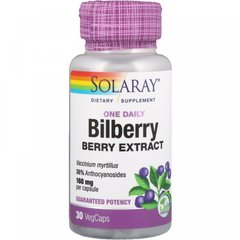 Черника экстракт ягод, Bilberry, Solaray, 1 в день, 160 мг, 30 капсул