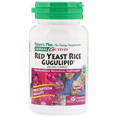 Красный дрожжевой рис, Red Yeast Rice, Nature's Plus, Herbal Actives, 450 мг, 60 капсул