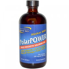 PolarPower рыбий жир из аляскинского дикого лосося (нерки), North American Herb & Spice Co., 8 жидких унций (240 мл)