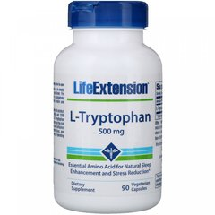 L-Триптофан, L-Tryptophan, Life Extension, 500 мг, 90 вегетарианских капсул