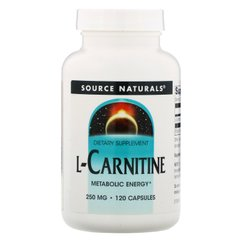 L-карнитин, L-Carnitine, Source Naturals, 250 мг, 120 капсул