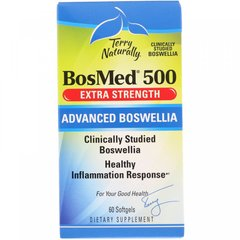 BosMed500, Экстра сила, Улучшенная босвелия, EuroPharma, Terry Naturally, 500 мг, 60 мягких капсул