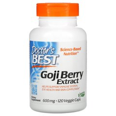 Экстракт ягод Годжи, Goji Berry Extract, Doctor's Best, 600 мг, 120 вегетарианских капсул