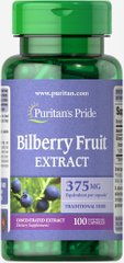 Черника, Bilberry 10:1 Extract, Puritan's Pride, 375 мг, 100 капсул