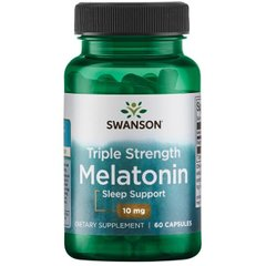 Мелатонин, Triple Strength Melatonin, Swanson, 10 мг, 60 капсул