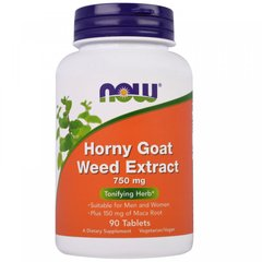 Экстракт горянки, Horny Goat Weed Extract, Now Foods, 750 мг, 90 таблеток