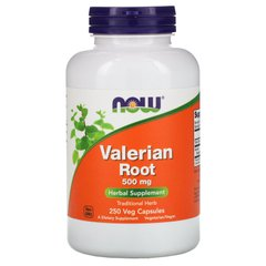Корень валерианы, Valerian Root, Now Foods, 500 мг, 250 вегетарианских капсул