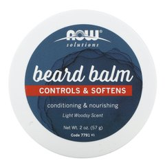 Бальзам для бороды, Beard Balm, Controls & Softens, Light Woodsy, Now Foods, 57 г