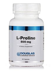 L-пролин 500 мг, L-Proline, Douglas Laboratories, 60 Капсул