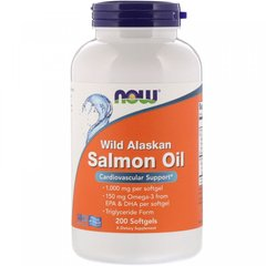 Жир дикого аляскинского лосося, Wild Alaskan Salmon Oil, Now Foods, 1000 мг, 200 капсул