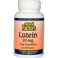 Лютеин Natural Factors (Lutein) 20 мг/1 мг 60 капсул