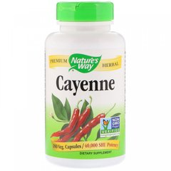 Кайенский перец, Cayenne, Nature's Way, 450 мг, 180 вегетарианских капсул