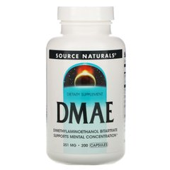 ДМАЕ, DMAE, Source Naturals, 351 мг, 200 капсул