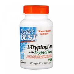L-триптофан, L-Tryptophan with TryptoPure, Doctor's Best, 500 мг, 90 вегетарианских капсул