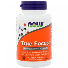 Витамины для памяти, True Focus, Now Foods, 90 вегетарианских капсул