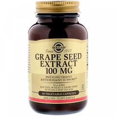 Экстракт виноградной косточки, Grape Seed Extract, Solgar, 100 мг, 60 вегетарианских капсул