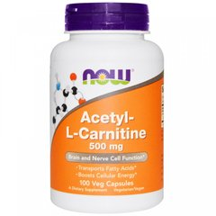 Ацетил-L-карнитин, Acetyl L-Carnitine, Now Foods, 500 мг, 100 растительных капсул