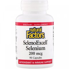 SelenoExcell, Селен, Natural Factors, 200 мкг, 90 капсул