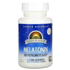 Мелатонин защита сна Source Naturals (Melatonin) со вкусом мяты 1 мг 300 леденцов