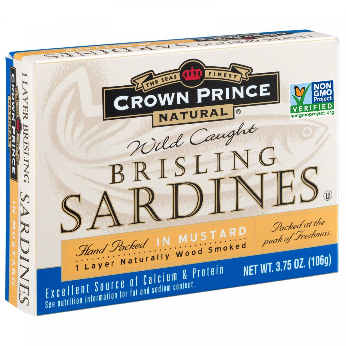Брислинг сардины, горчица, Brisling Sardines, In Mustard, Crown Prince Natural, 106 г