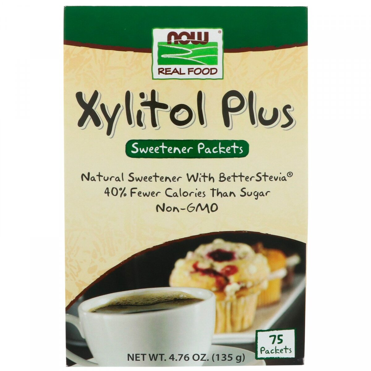 Ксилит сахарозаменитель, плюс, Xylitol Plus, Now Foods, 75 пакетов, 135 г
