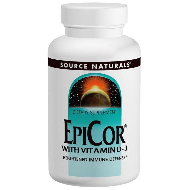 Эпикор + витамин Д3, EpiCor, Source Naturals, 500 мг, 120 капсул