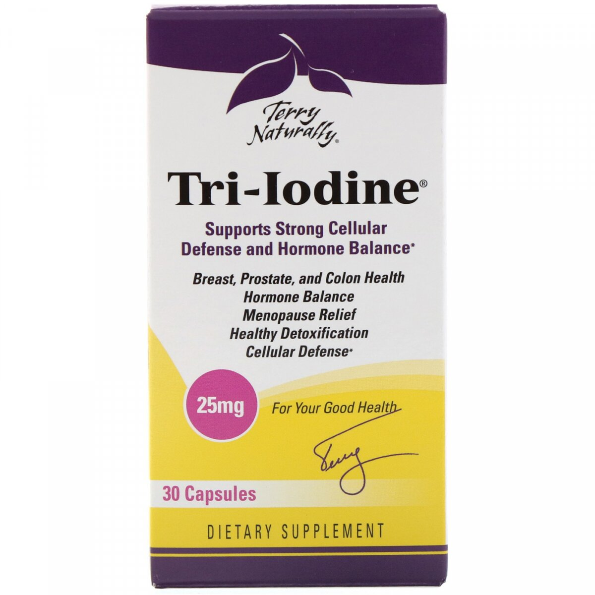 Три-йод, Tri-Iodine, EuroPharma, Terry Naturally, 25 мг, 30 капсул