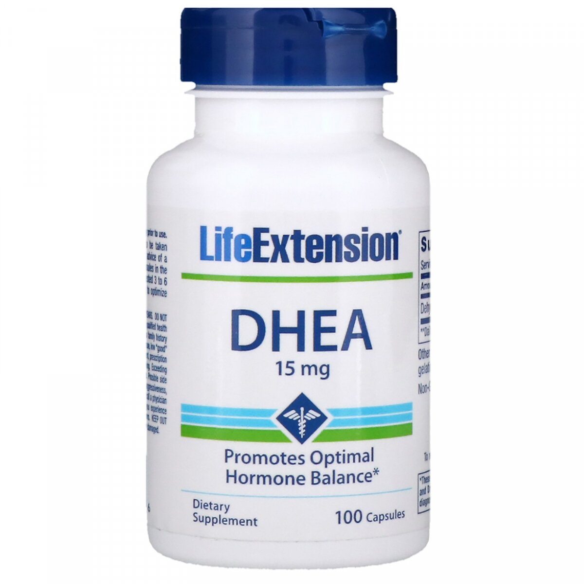 ДГЭА, DHEA, Life Extension, 15 мг, 100 капсул