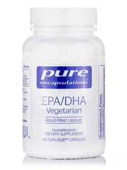 EPA / DHA Вегетарианская, Pure Encapsulations, EPA/DHA 60 капсул