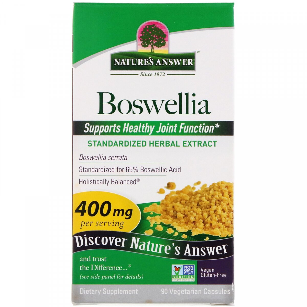 Босвеллия (Boswellia), Nature's Answer, 400 мг, 90 вегетарианских капсул