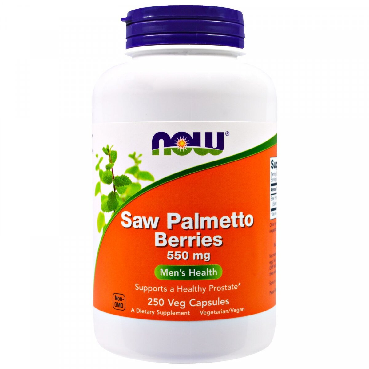Ягоды пальмы сереноа Saw Palmetto Berries, Now Foods, 550 мг, 250 вегетарианских капсул