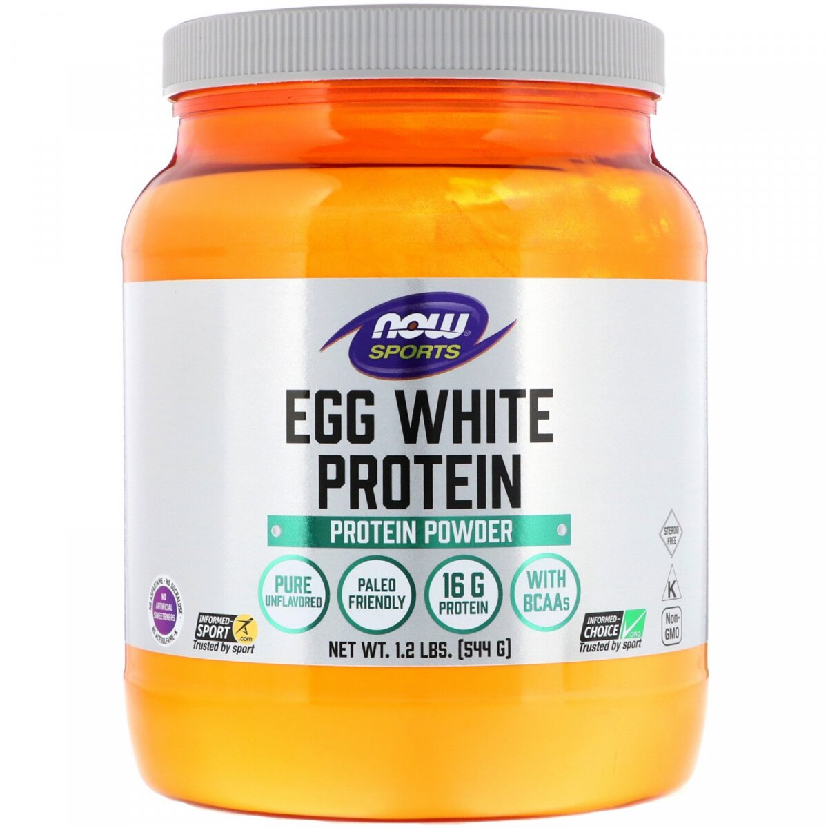Яичный протеин, Eggwhite Protein, Now Foods, Sports, 544 г