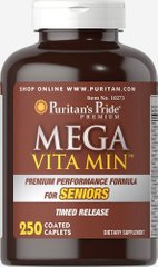Мега Вита Мин ™ Мультивитамин для пожилых людей, Mega Vita Min™ Multivitamin for Seniors Timed Release, Puritan's Pride, 250 таблеток