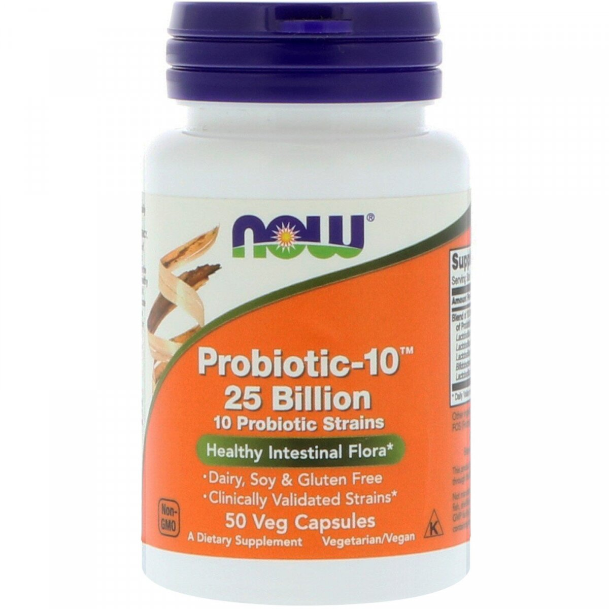 Probiotic-10, Now Foods, 25 млрд 50 вегетарианских капсул