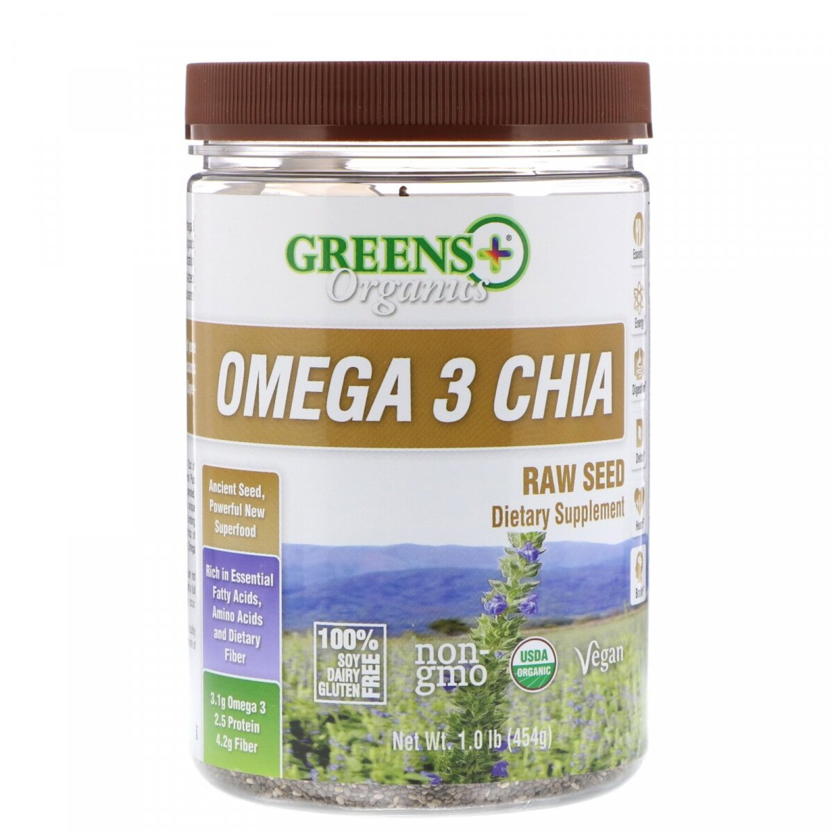 Семена чиа с Omega-3, Chia Omega 3, Greens Plus, 454 г