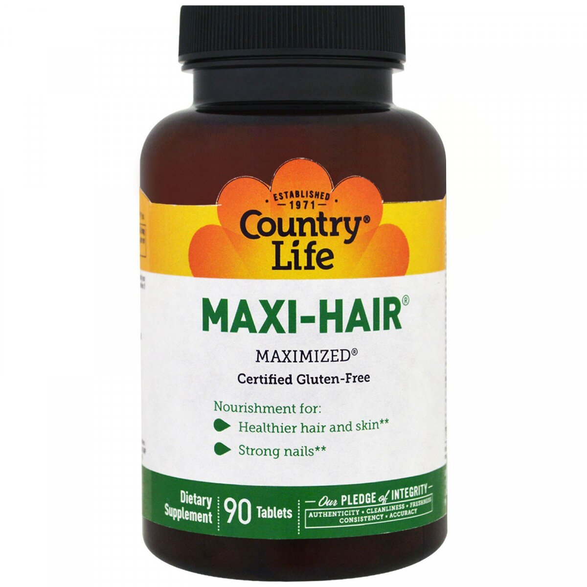 Для волос, Maxi Hair, Country Life, 90 таблеток