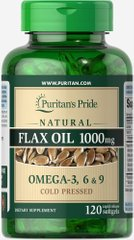 Натуральное льняное масло без ГМО, Non-GMO Natural Flax Oil, Puritan's Pride, 1000 мгг, 120 капсул