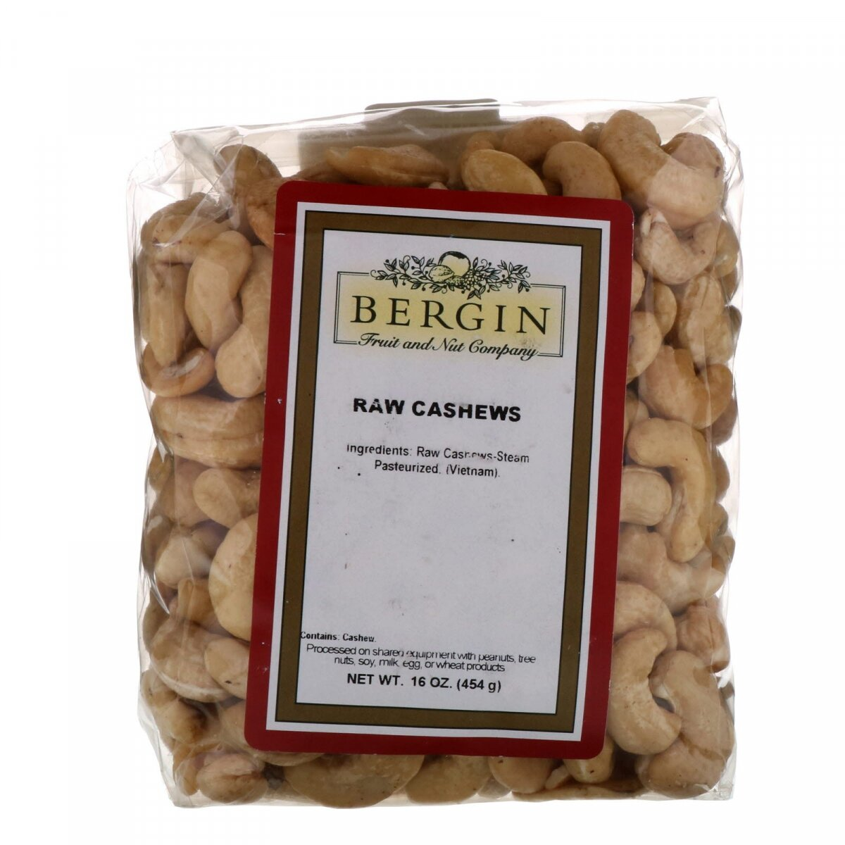 Сырые кешью, Cashew, Bergin Fruit and Nut Company, 453,6 г