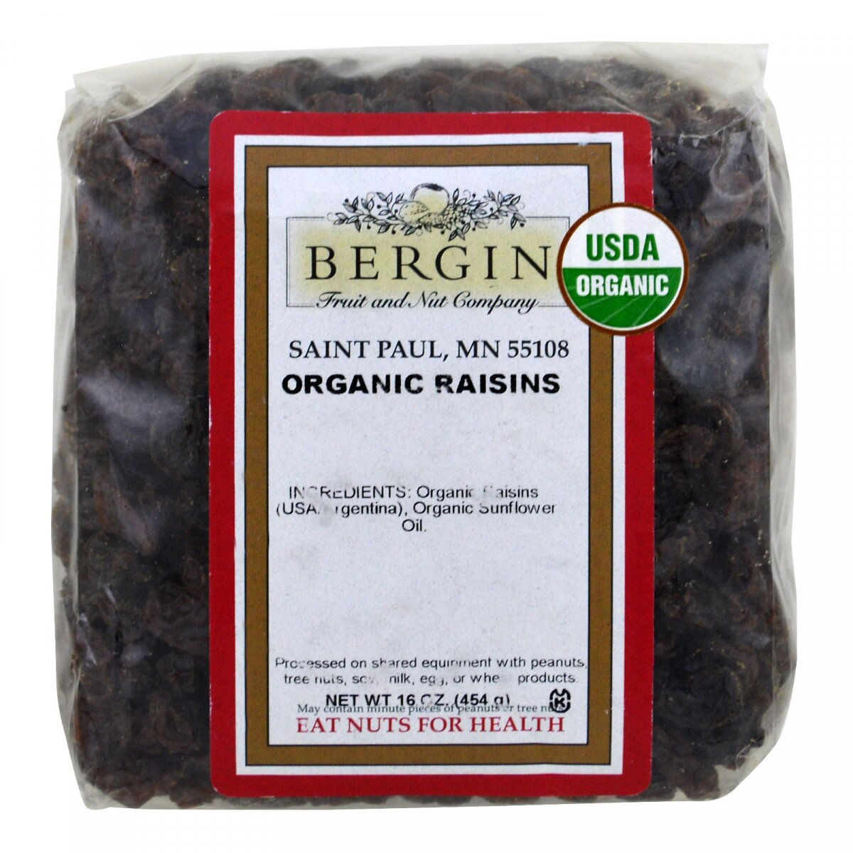 Органический изюм, Organic Raisins, Bergin Fruit and Nut Company, 454 г
