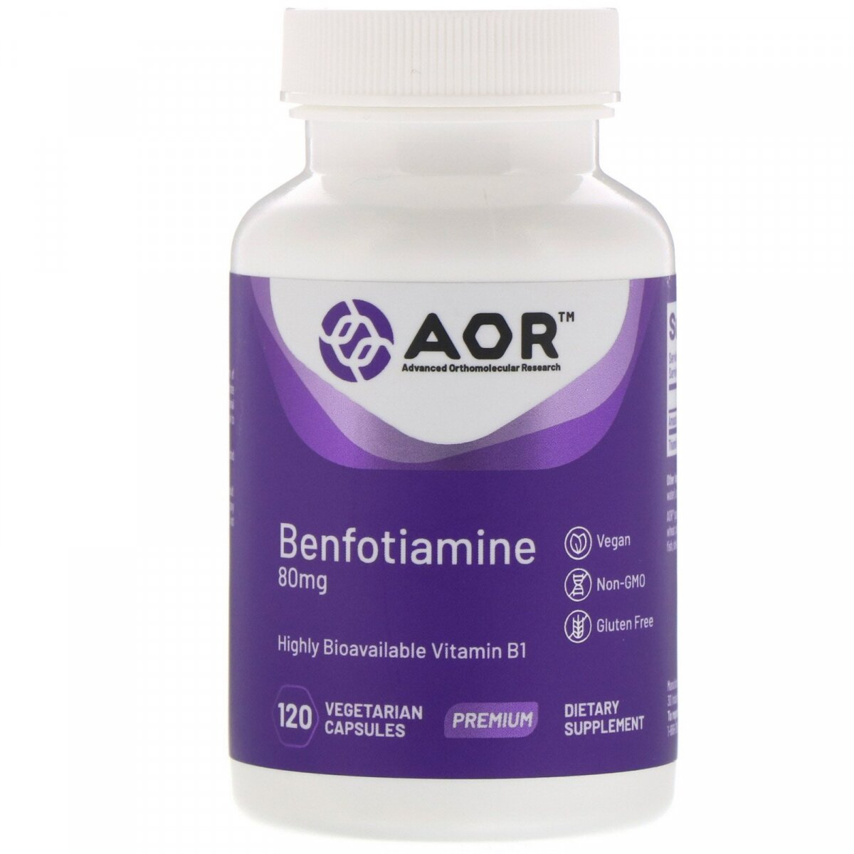 Бенфотиамин, Benfotiamine, Advanced Orthomolecular Research AOR, 120 вегетарианских капсул