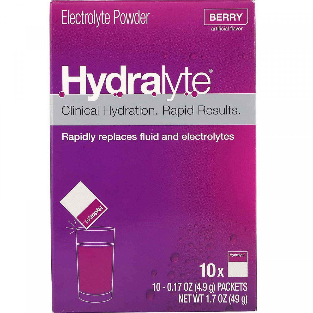 Hydralyte, Clinical Hydration, Electrolyte Powder, Berry, 10 packets 0.17 oz (4.9 g) Each