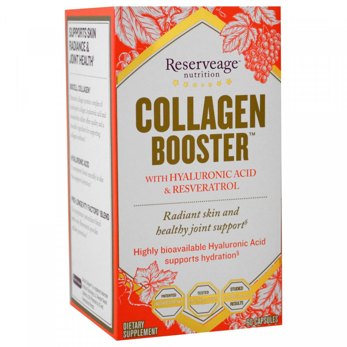ReserveAge Nutrition, Collagen Booster, с гиалуроновой кислотой и ресвератролом, 60 капсул