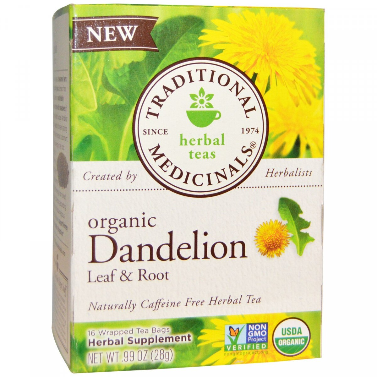 Органический чай Dandelion Leaf & Root без кофеина, Traditional Medicinals, 16 пакетиков, .99 унц. (28 г)