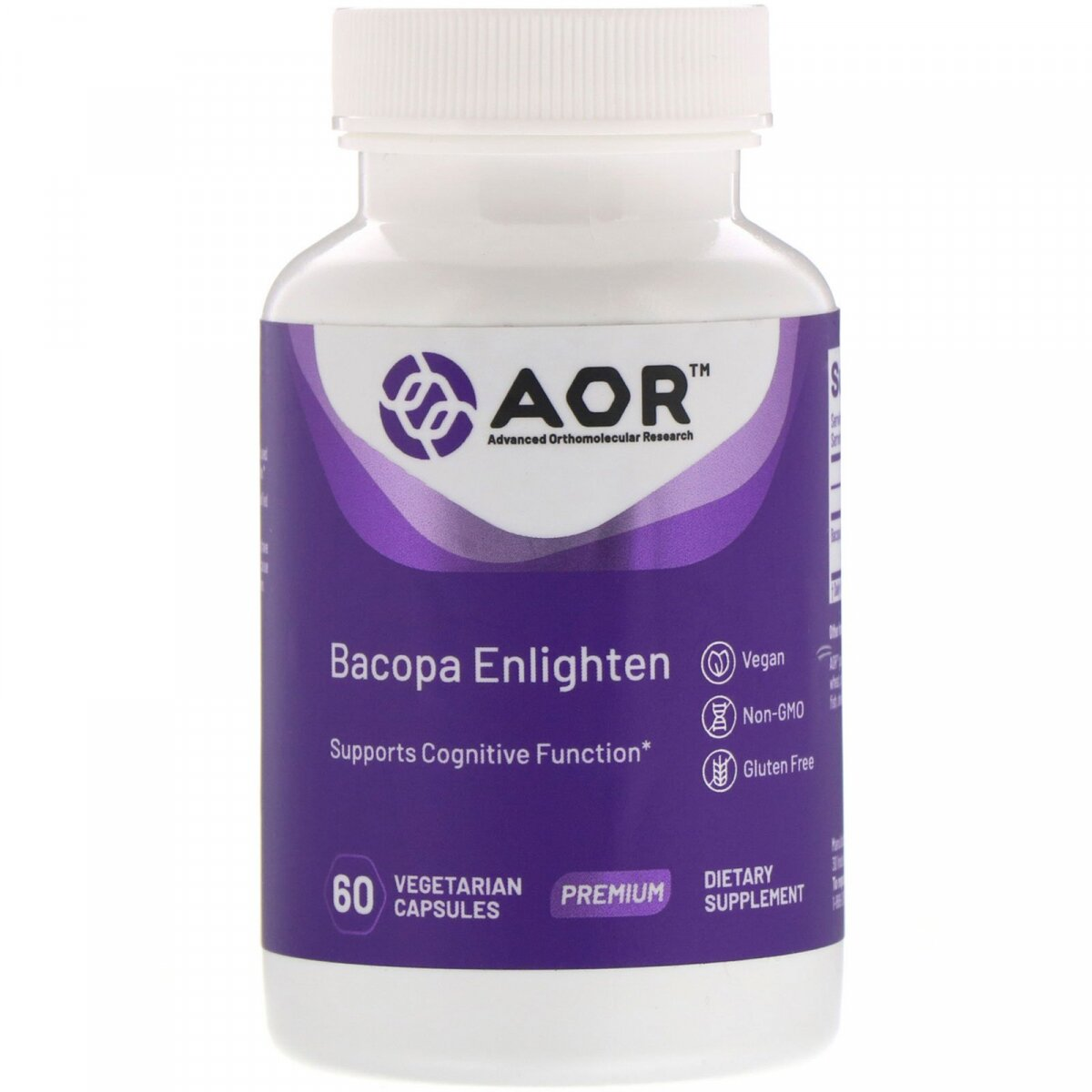 Bacopa Enlighten, Advanced Orthomolecular Research AOR, 60 вегетарианских капсул