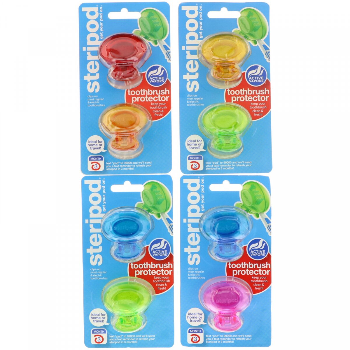 Steripod, Toothbrush Protector, Bonfit America Inc., 4 Pack, 2 Multi Colors Each