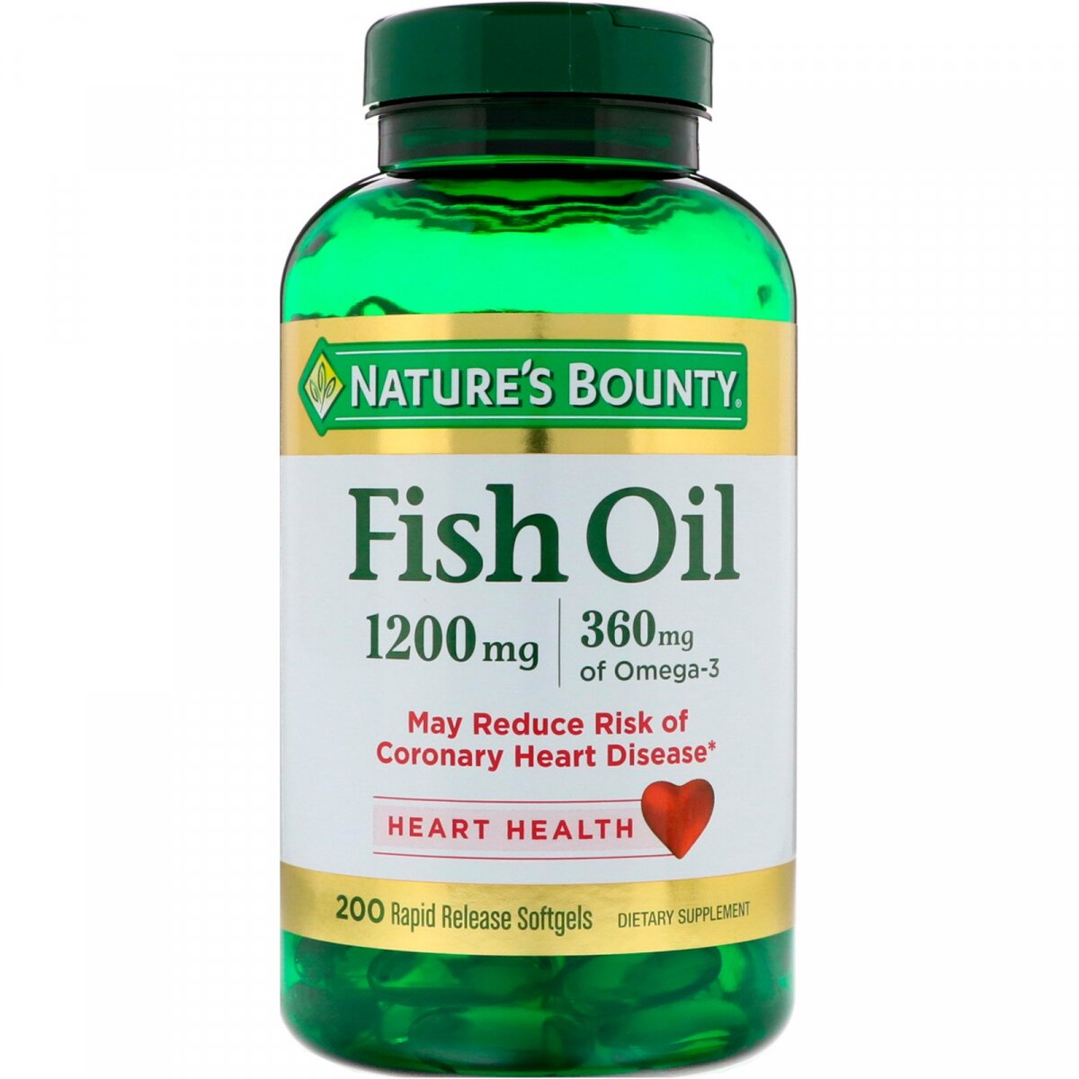 Рыбий жир, Fish Oil, Nature's Bounty, 1200 мг, 200 капсул